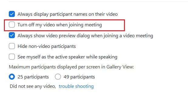Enable turn off video when joining option