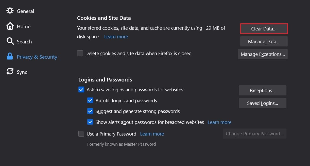 Go to Cookies and Site data and click on clear data