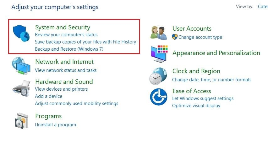 In the control panel, click on System and security