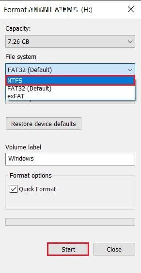 In the format window change file system to NTFS