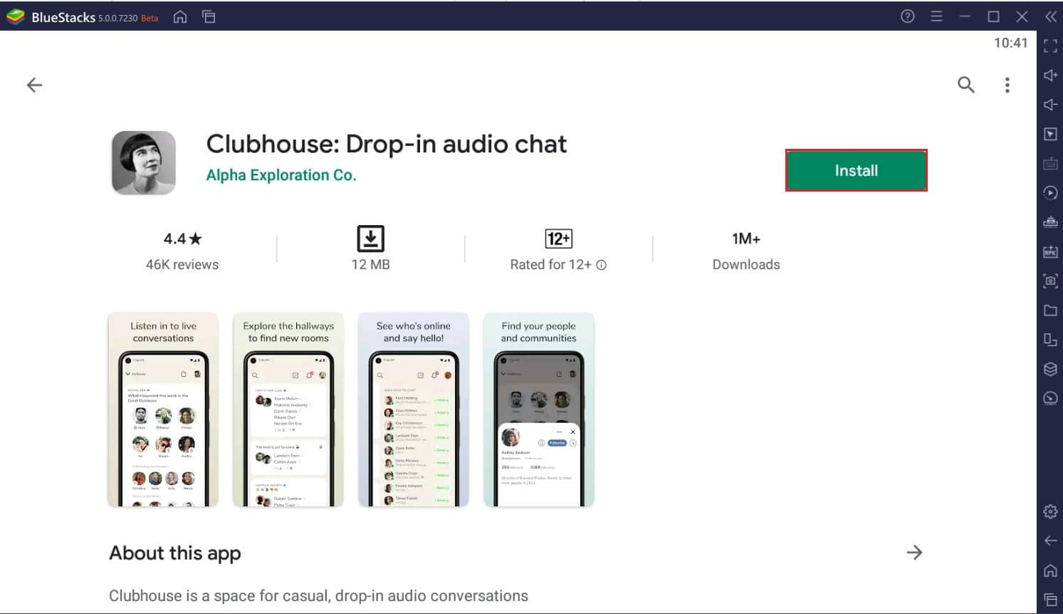 Install Clubhouse app through the playstore