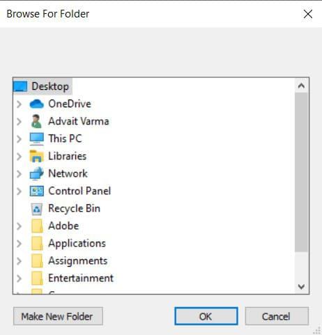 Navigate and select a destination folder, then click on OK
