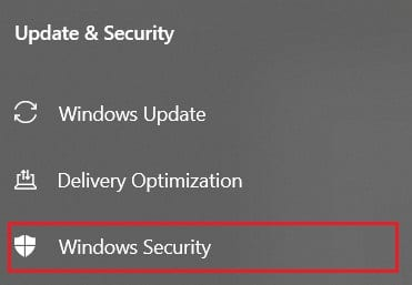 On the panel on the left side, click on Windows security