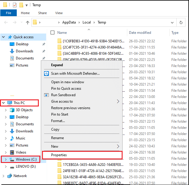 Right-click on Local disk (C;) and click on properties from the menu