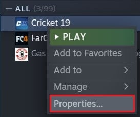 Right click on the game and select properties