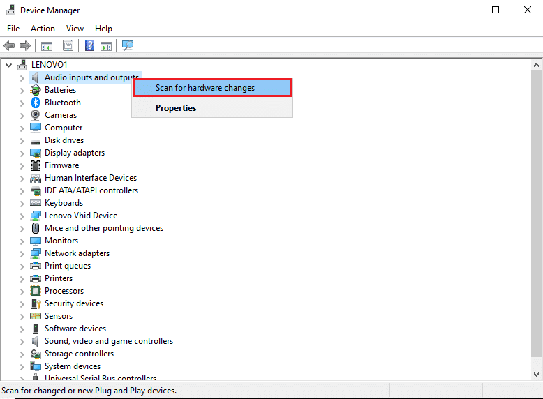 Right-click on the screen and select Scan for hardware changes