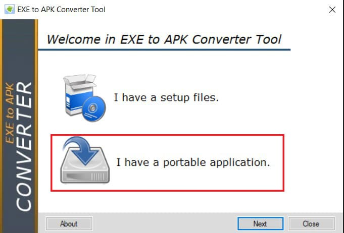 SelectI have a portable application and then click on Next