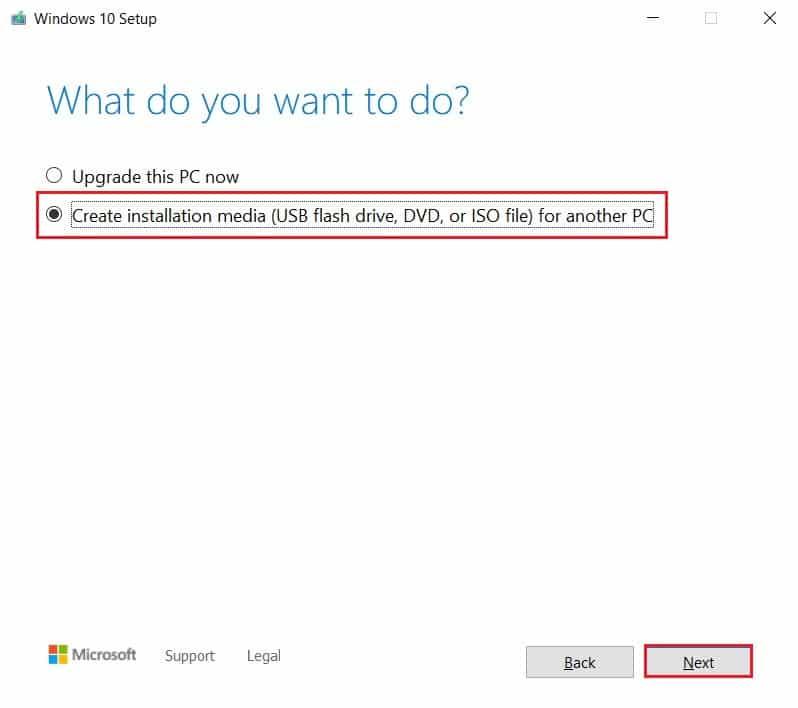 Select create installation media and click on next | Fix Media Creation Tool Error 0x80042405-0xa001a
