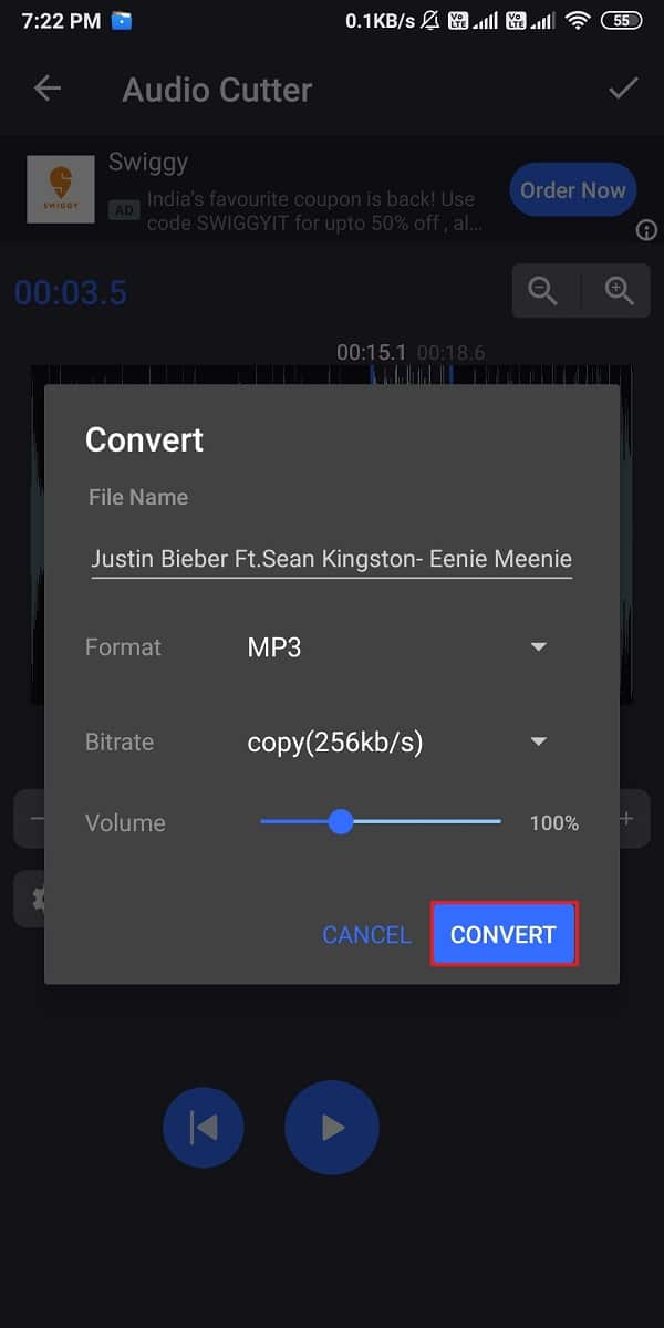 Select the Convert option when the window pops up