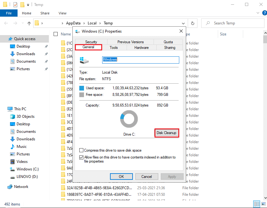 Run Disk cleanup | Fix Your computer may be sending automated queries