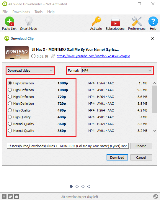Select the Video Format by clicking on the drop-down menu next to format