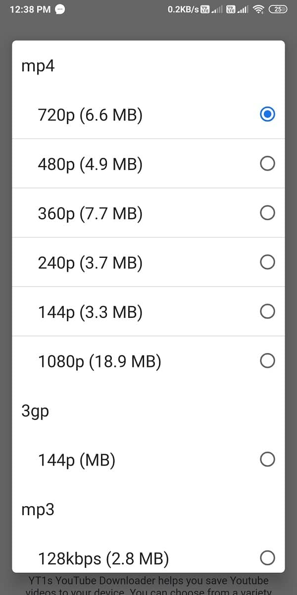 Select the Video Quality that you want to download