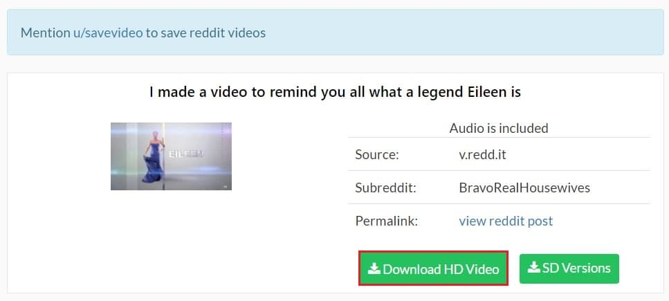 Select the download quality and save the video | How to Download Reddit Videos with Sound