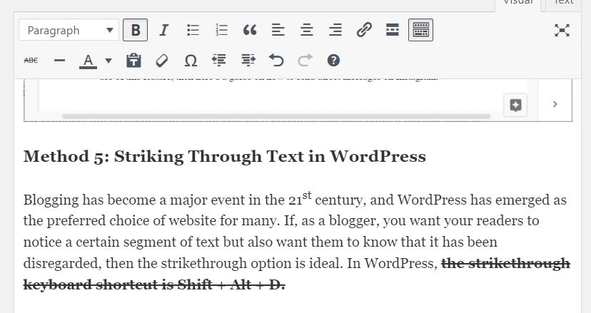 Strikethrough text in WordPress