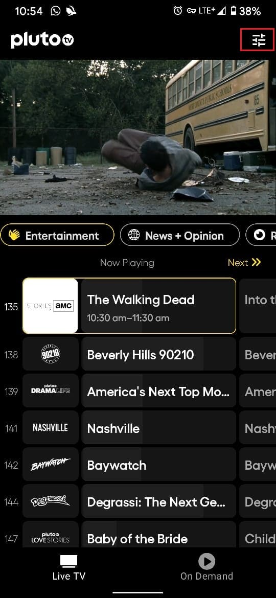 Tap on settings icon in top right corner of screen | How to Activate Pluto TV