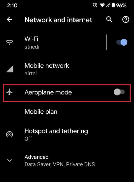 Tap on the toggle switch in front of the Aeroplane Mode | How to Fix Slow Charging on Android