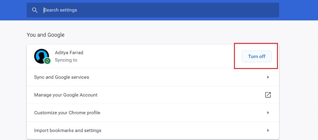 Turn Off Google Sync on Chrome Desktop