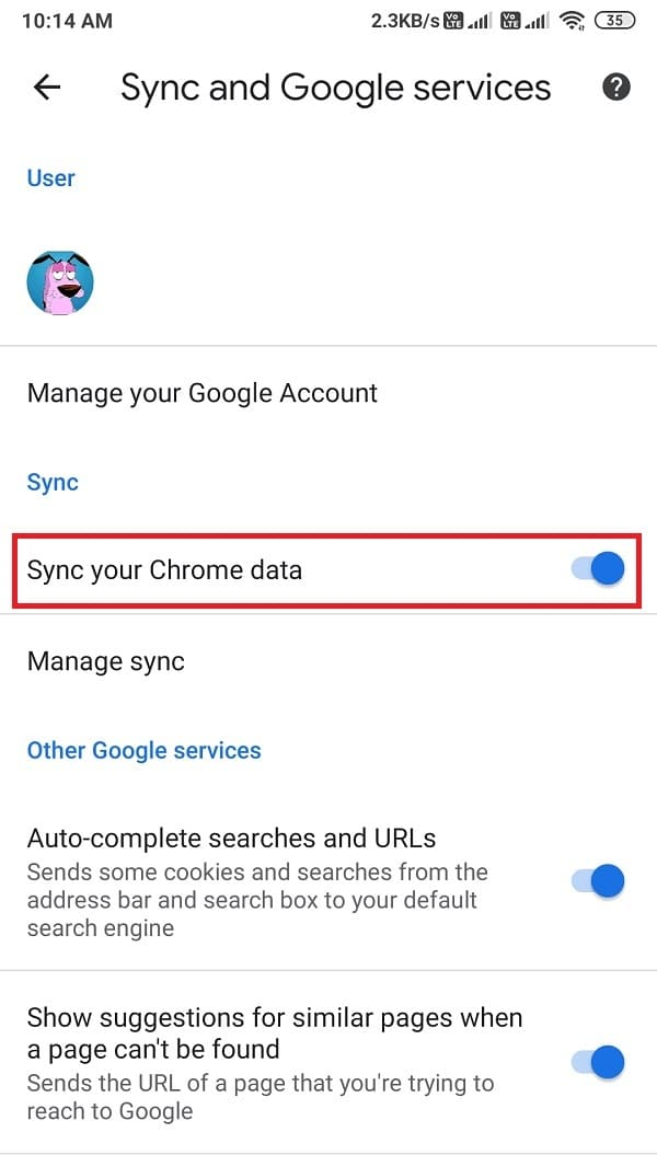 Turn on the toggle next to sync your Chrome data