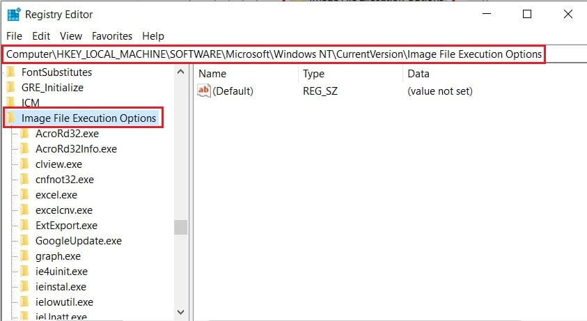 Type in the following address to open Image File Execution options | Fix Windows Cannot Find Steam.exe
