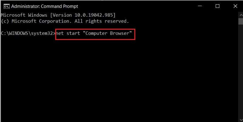 Type net start computer browser | Fix the Local Device Name is Already in Use Error on Windows