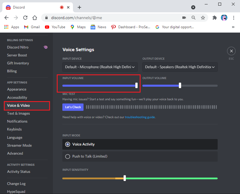 Under Voice Settings, drag the input volume slider to a high value