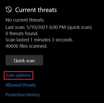 Under current threats, click on scan options | Fix Windows Cannot Find Steam.exe