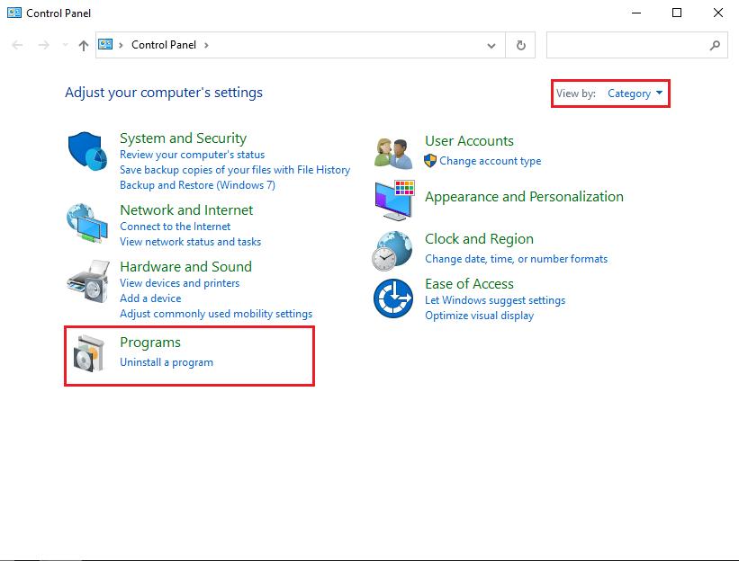 Under programs, select uninstall a program
