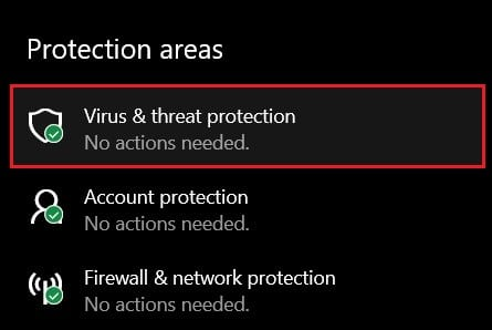 Under protection areas, click on Virus and threat protection