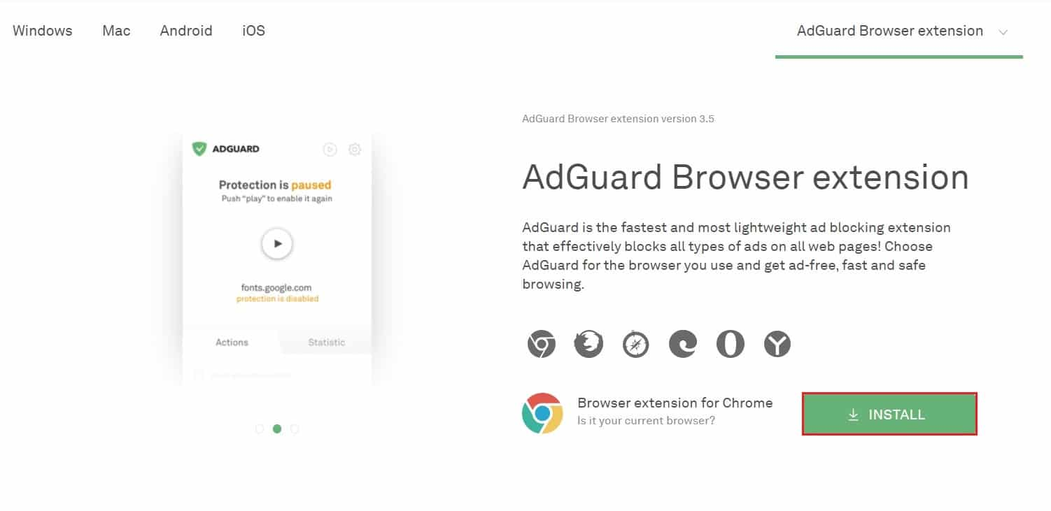 choose your browser for AdGuard extension and click in install | How to Block Ads on Crunchyroll for Free