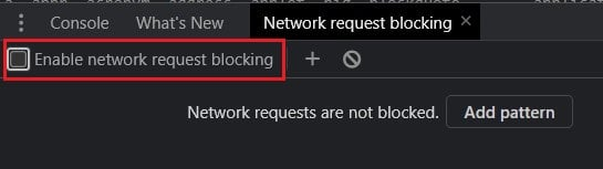 click on enable network request blocking checkbox