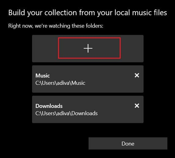 click on the plus icon to add music in groove