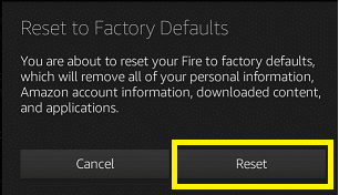 Confirm the prompt by clicking on the Reset button