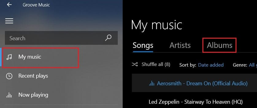 first select my music then click on albums | How to Add Album Art to MP3 in Windows 10