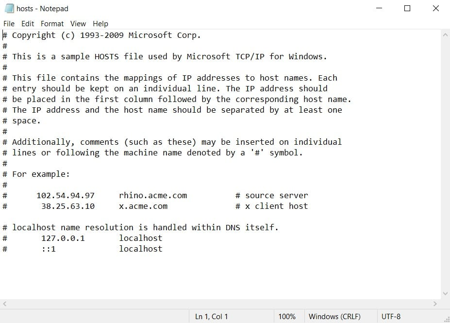 hosts notepad file