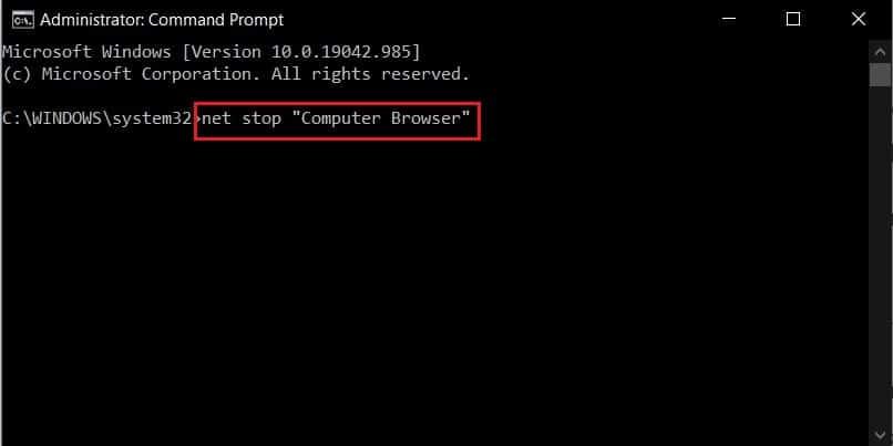 in command window type net stop computer browser