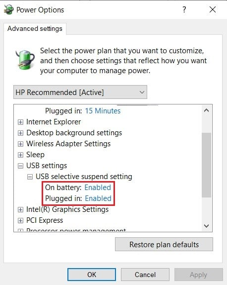 in power options, click on USB settings and disable usb selective suspend settings