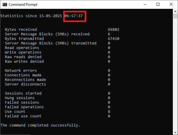Once you click Enter, you can see some data displayed on the screen and your required Windows 10 Uptime will be displayed at the top of the listed data as follows.