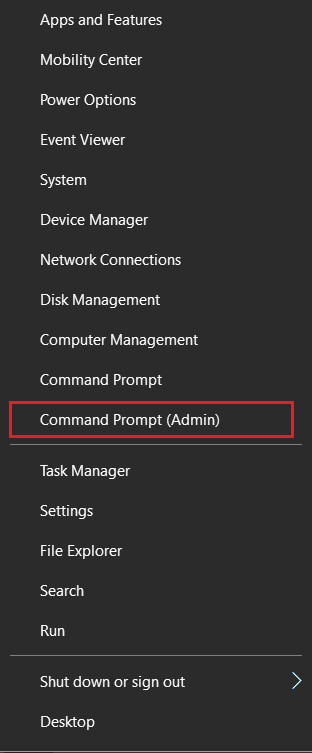 right click on start menu and select cmd promt admin