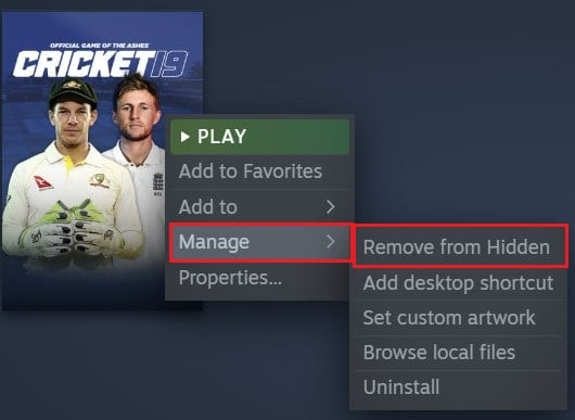 right click on the game, select manage and click on remove from hidden | How to Hide Steam Activity from Friends