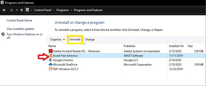 Select Avast Free Antivirus and select Uninstall.