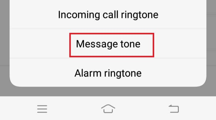 Then, click on Message tone.