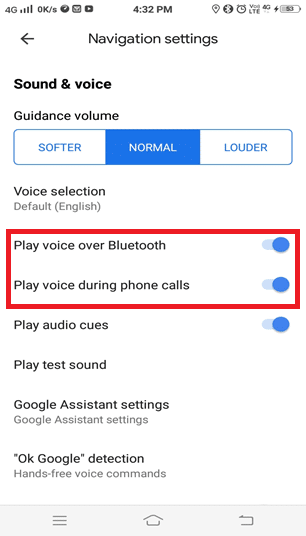 Toggle ON the following options. • Play voice over Bluetooth • Play voice during phone calls