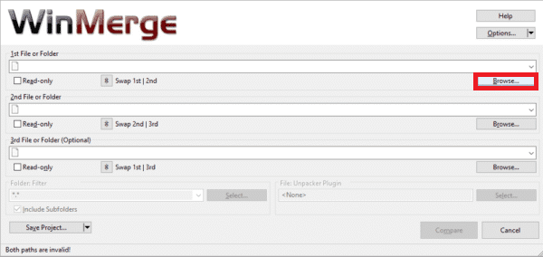 You can select the 1st file or folder by clicking on the Browse option.