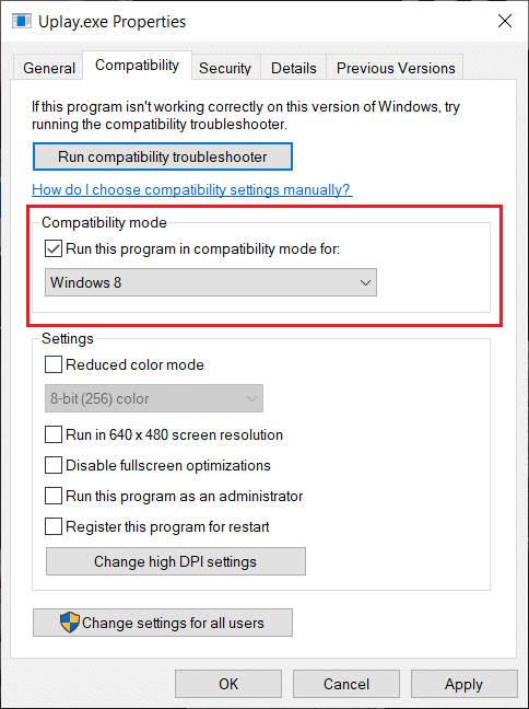 Check Run this program in compatibility mode for and select the appropriate Windows version