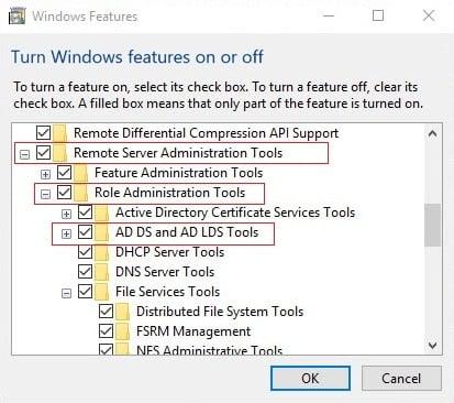 Checkmark Remote Server Administration Tools