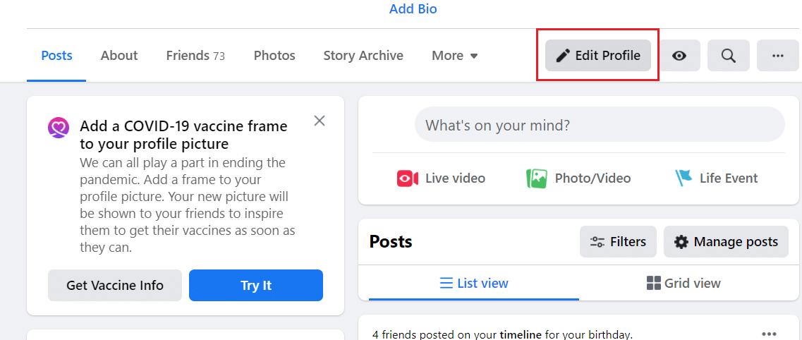 Click on Edit Profile option
