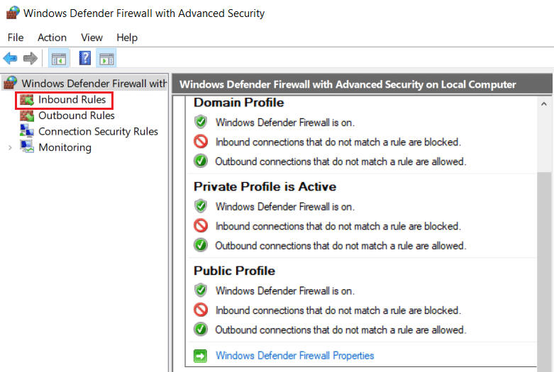 Click on Inbound Rules from the left hand menu in Windows Defender Firewall Advance Security