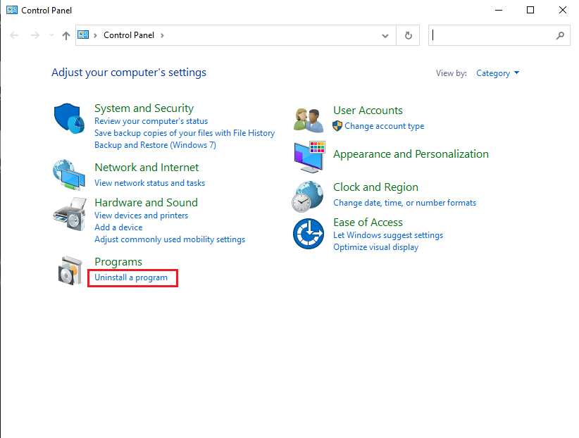 Click on Uninstall a program | Fix uTorrent Not Responding