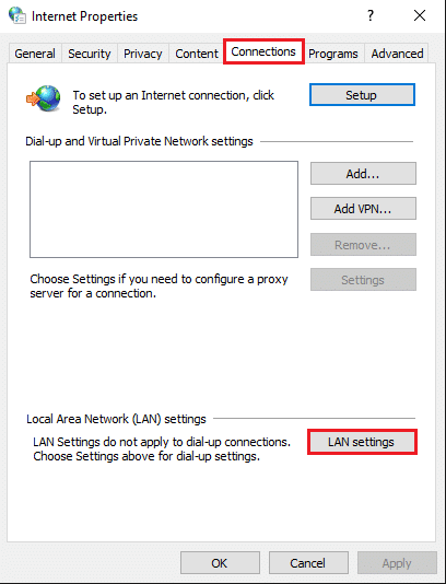 Click on the 'Lan settings' option under local area network settings | Fix uTorrent Not Responding