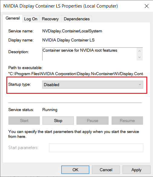 Disable NVIDIA Display Container LS